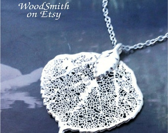 Real Leaves Jewelry, Colorado Aspen Leaf  Necklace, Silver, Necklace, Pendant Natures Leaves