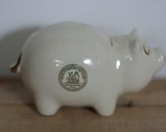 vintage ceramic piggy bank wc bunting co wellsville ohio