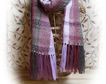 Handwoven Purple Homespun Tabby Scarf