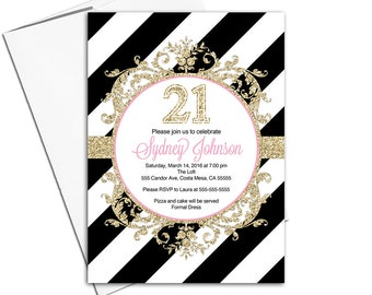 21st Birthday Invites In Pink Black And Gold Stripes