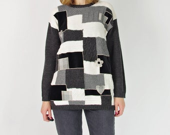SALE 50% OFF 90s Monochromatic patchwork wool sweater