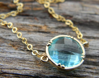 Aquamarine Necklace, Gold Necklace, Bridal Jewelry, Bridesmaid Gift, Holiday Gift, Gift For Her, Layering Necklace, Petite Necklace