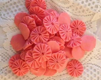 50 Handmade Fabric Yoyos in Peach.