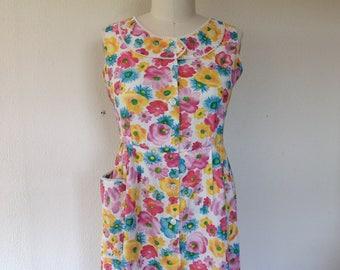SALE 1960s Floral cotton day dress