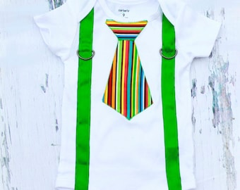 SALE Baby Boy Tie and Suspenders, Rainbow Tie, Green Suspenders, Boy Cake Smash Outfit, Boy Photography Prop, Boy 1st Birthday: Any size