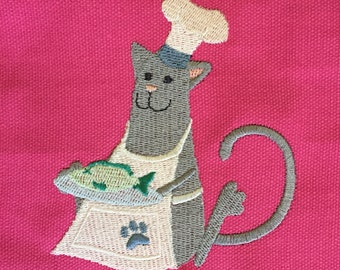 Kitty Cat Chef Apron Child Fushia Pink
