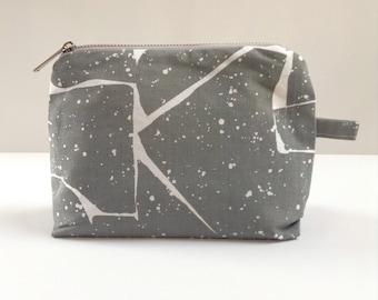 Hand printed organic cosmetic bag