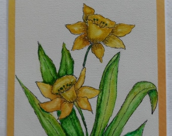 Daffodils Card Hand Painted Watercolor Daffodils Watercolor and Ink Flowers Watercolor Floral Cards Daffodil Card
