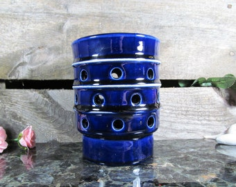 Blue Pottery Lantern Votive or Tea Lite Candle Holder, Vintage Home, Office & Farmhouse Decor, Urban Table Accent, Luminary, Candleholder