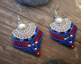 Aztec earrings. macrame earrings. large statement jewelry. sisters boho birthday gifts. navajo mexican inspired. american indian native