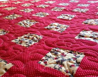 Red Polka Dot & Rose Buds Quilt