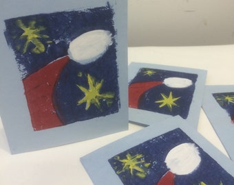 Christmas card--Santa and Stars on blue card stock--