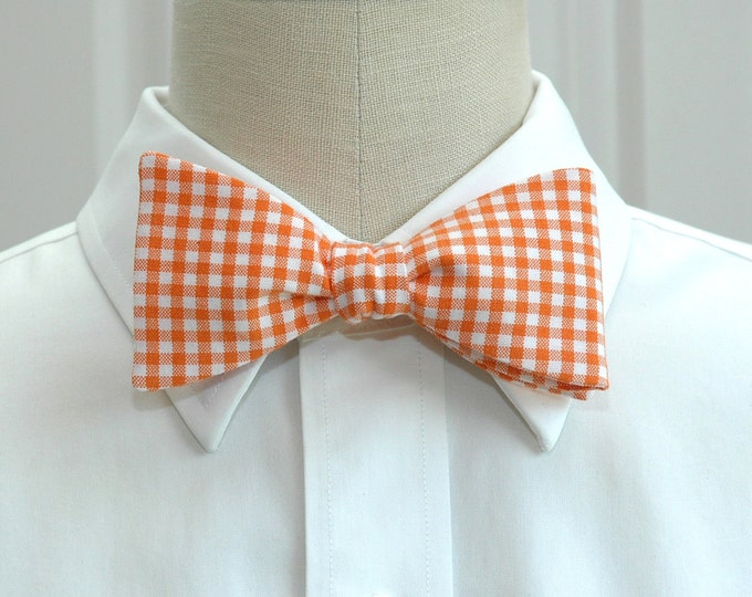 Men's Bow Tie, orange gingham bow tie, wedding bow tie, orange check bow tie, groom bow tie, groomsmen gift, orange white bow tie, prom tie