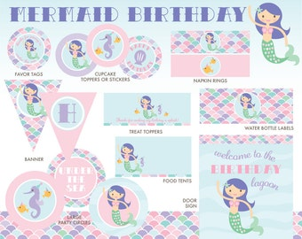 Mermaid Party Package, INSTANT DOWNLOAD, Mermaid Birthday
