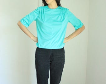 Vintage Turquoise 3/4 Sleeve Blouse Small