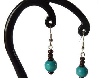 Blue and dark brown wood earrings