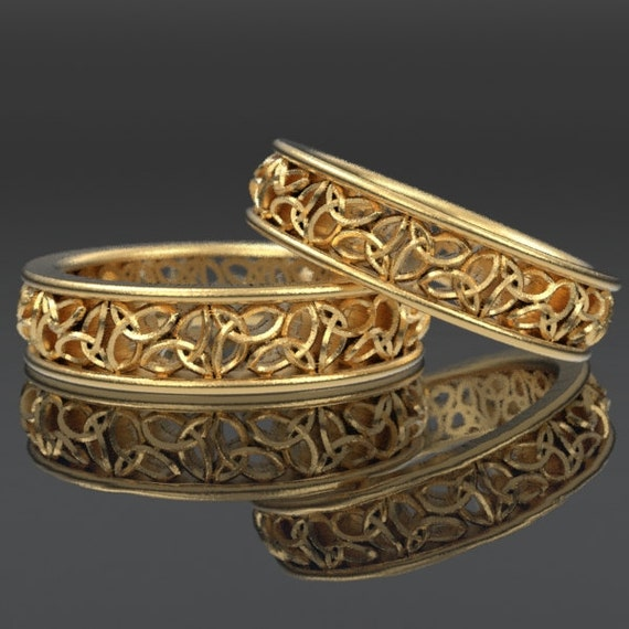 Celtic Wedding Ring Set With Cut-Through Trinity Knot Design in 10K 14K 18K Gold Palladium or Platinum, Made in Your Size CR-617
