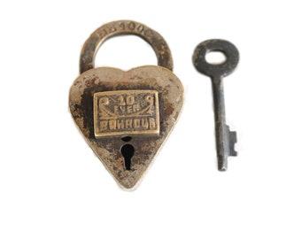 Vintage Heart Lock and Key / small padlock . heart ring pillow alternative . trick lock . Love Lock . heart padlock and key