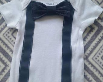 Baby boy onsie with bow tie and suspenders Black, blue, or gray!