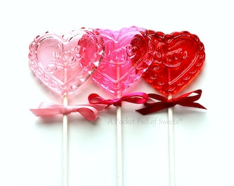 Valentines Day Gift, Valentines Day Party, Wedding Favors, Bridal Shower Favors, Engagement Party, Heart Favors, Centerpieces, 8 Lollipops