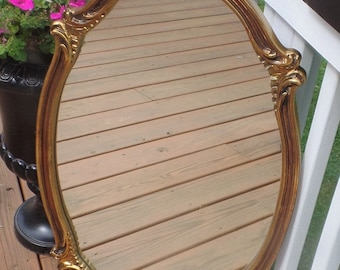 Large Vintage Ornate Gold Mirror by Carolina Mirror Company- Floral Details