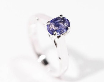 Blue Sapphire Ring, Sterling Silver Blue Sapphire Ring, Natural Sapphire, Blue Sapphire, Solitaire Ring, Sapphire Ring