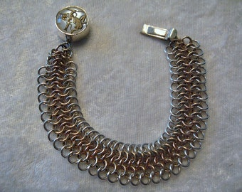 SALE  SALE   European 4-in-1 Chainmaille  Sterling Silver & 14K Gold Filled Bracelet w/ Dancing Siam Lady Clasp Jump Rings