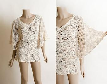 Vintage Crochet Batwing Top - 1960s Floral Crochet Beige Sheer Angel Wing Blouse Top - Bohemian Boho - Hippie Gypsy - Ethnic - Small