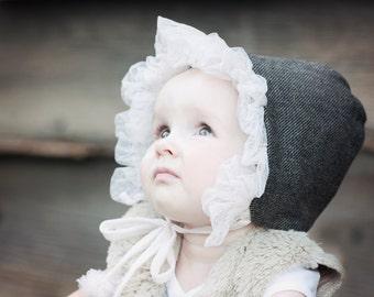 Baby Girl Bonnet - Girls Bonnet - Wool Bonnet - Toddler Bonnet - Winter Bonnet - Black Gray Wool Bonnet - Girls Winter Hat - Baby Girl Hat