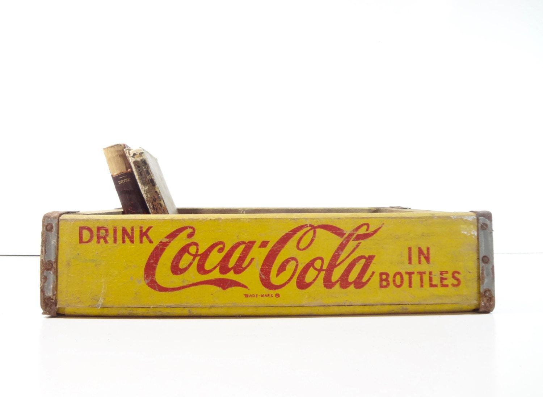 Vintage Wood Coca Cola Soda Pop Crate / Rustic Storage