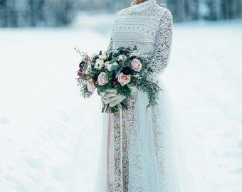 Winter wedding dress / Fluffy skirt wedding gown / Macrame lace wedding dress / Long sleeve wedding dress / Winter wedding dress