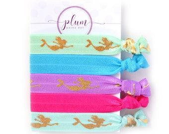 Mermaid Hair Ties, Stocking Stuffer for Girls and Women, Elastic Ponytail Holders, Hair Accessories, Creaseless Hair Tie Bracelet, Set of 5