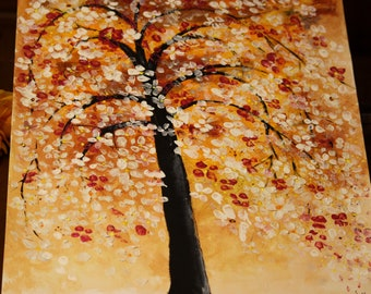 abstract painting,tela dipinta con albero in fiore, painting flowers art,acrilyc painting, painting on canvas abstract, wall art, home decor