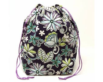 SALE - Flowers Drawstring Knitting Project Bag
