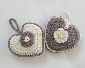Lavender sachets, crochet sachets lavender, home fragrance lavender, crochet favors, crochet hearts with dry lavender
