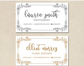 printable mommy calling cards - hand illustrated floral border - business cards - modern - hand illustrated - simple - DIY - customized