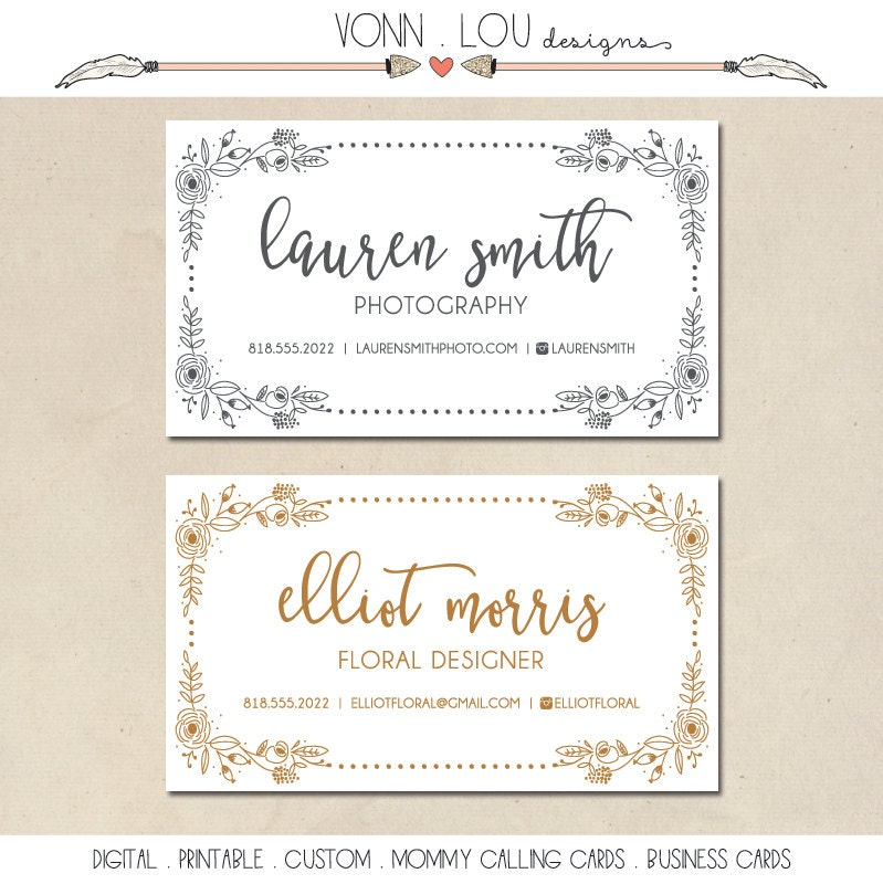 printable mommy calling cards hand illustrated floral border