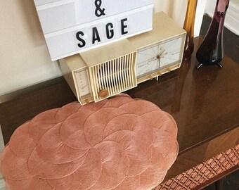 Vintage Blush Pink Mid Century Placemats // Set of 8