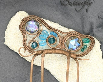 Comb butterfly Makhaon is a hair accessories, with beautiful crystals, polished holder hair jewelry with Czech beads copper wire