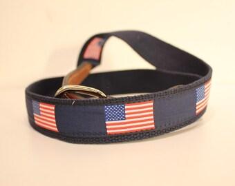 US Flag Men's  Web Leather Belt