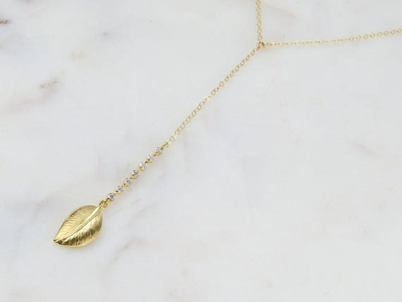 Tiny Leaf Lariat   Gold Wedding Lariat   CZ Diamond Lariat   Dainty Gold Lariat   Diamond Lariat   Delicate Gold Lariat   Layering Necklace