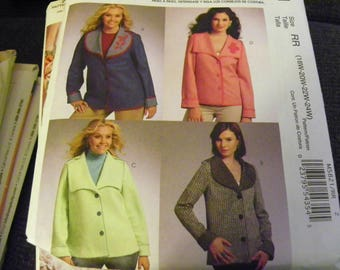 Sewing Pattern - McCall's M5821 - Misses' And Women's Jackets - Size RR 18W - 20W - 22W - 24W - Coat