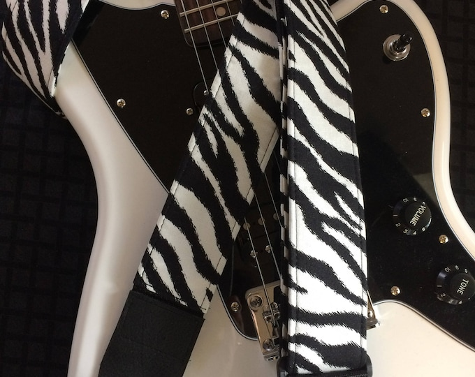 Zebra print guitar strap // black and white retro cool guitar strap // groovy stylish retro styling // quality gift for him, gift for her