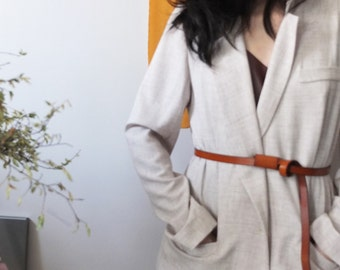 Aloi Blazer- light grey /ecru tencel linen blazer