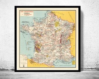 Old Map of France,  Vintage Poster France