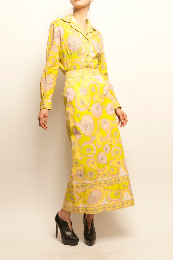 Emilio Pucci 1970's cotton geometric motif shirt + long skirt ensemble
