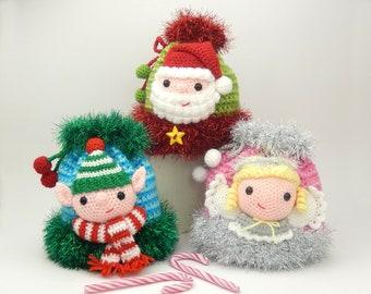 Christmas Gift Bags, Elf, Santa and Angel - Crochet Pattern