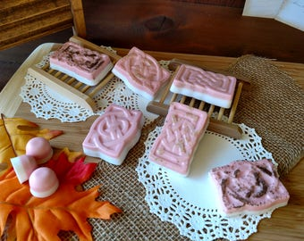 Herbal Vanilla Rose Soap Bar Apricot Seeds Loofah or Ground Oatmeal Pink Soap White Soap