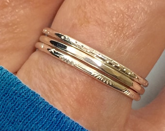 Size 8.5 Sterling Silver Skinny Stacking Rings. Trio of stamped and hammered sterling silver rings. Set of three stacking rings - SayLaVee -
