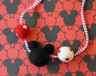 Minnie Felted wool Ball Necklace